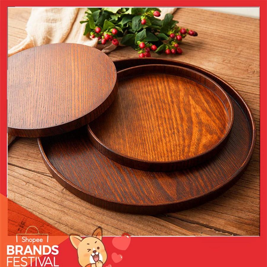 Khay gỗ tròn đựng trà và thức ăn tiện dụng