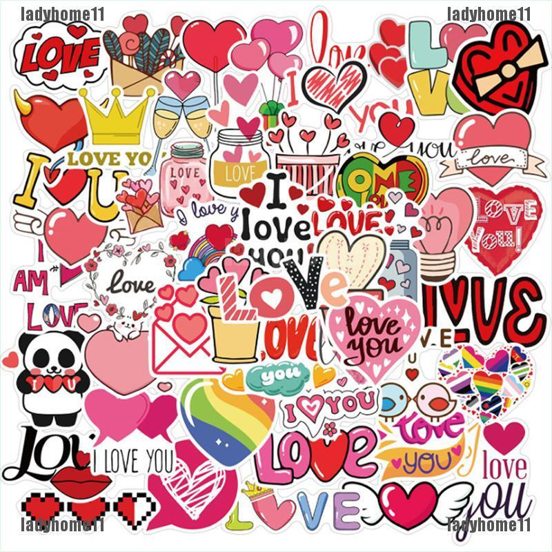 {ladyhome11}50pcs Cartoon Valentine's Day Stickers For Laptop Phone Skateboard DIY Scrapbook