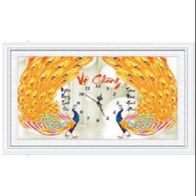 Tranh Đính Đá Kim Cương ABC Vợ Chồng Công Vàng DF381 - 70x44cm