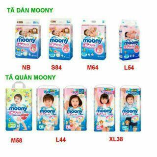 BỈM MOONY QUẦN/ DÁN NEWBORN90, S84,M64,M58,L44,XL38