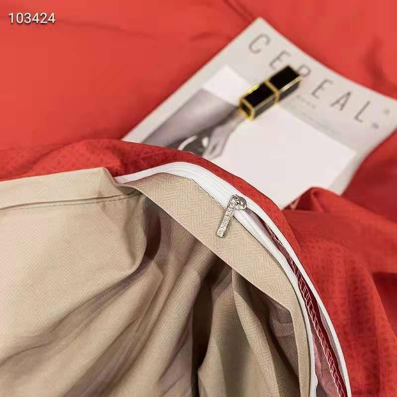 Bộ Chăn Ga Gối cotton lụa 20s Lidaco - Hoàng Gia Đỏ