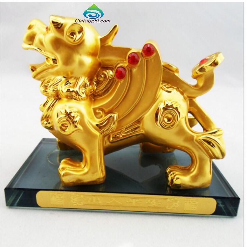 Tý Hưu Phong Thủy cầu Tài Lộc hộp đựng nước hoa trên ô tô 206271 (vàng)