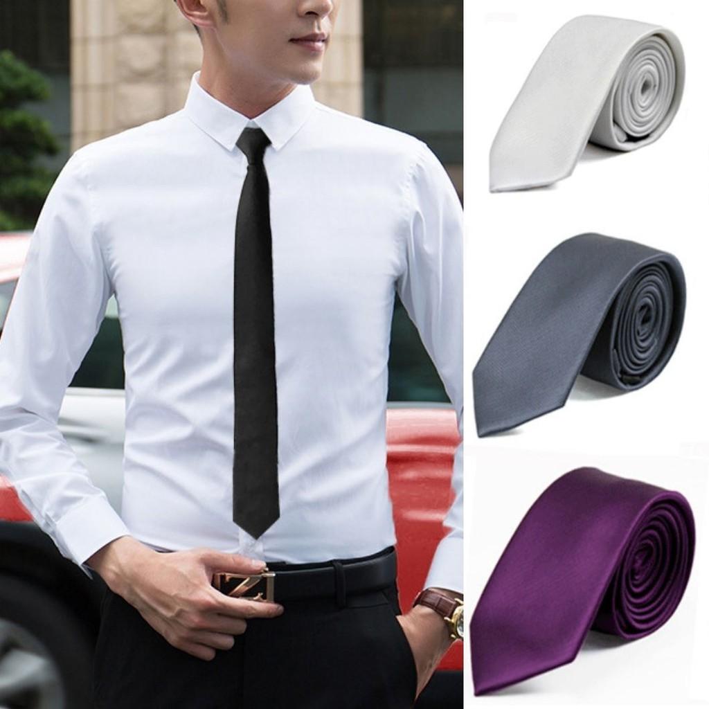 Cà vạt nam nữ Lụa màu trơn bản nhỏ 5cm, kỷ yếu học sinh sinh viên công sở xanh đen than xám hồng đỏ đẹp