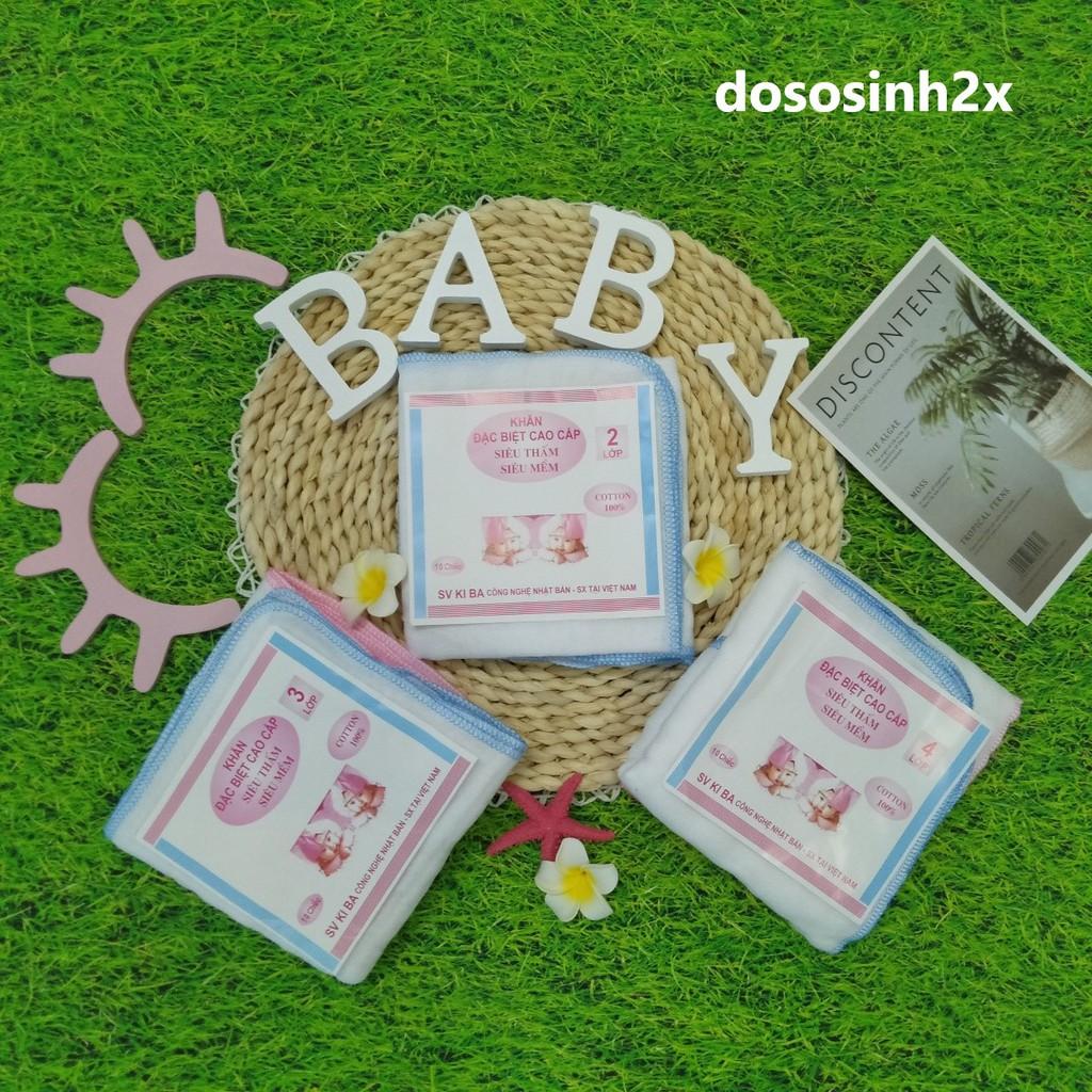 Khăn Sữa KiBa siêu mềm 2 lớp 3 lớp 4 lớp Cho Bé Sơ Sinh (Set 10 chiếc), Khăn xô sữa trắng siêu thấm - 2X MART