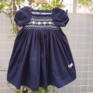 Váy smock thô lụa navy