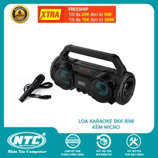 Loa karaoke xách tay BKK B98 tích hợp jack cắm micro 6.5mm - kèm micro có dây (đen)