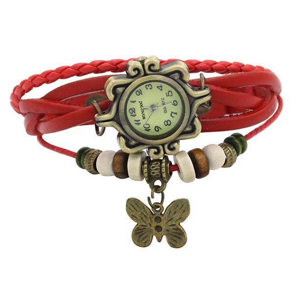 Đồng hồ dây đeo da đính bướm trang trí cho nữ