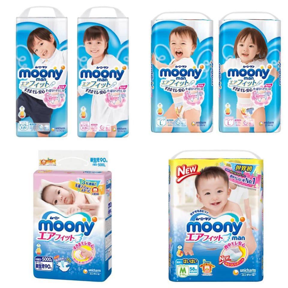 Tã bỉm Moony NỘI ĐỊA NHẬT dán quần NB90/S84/M64/L54