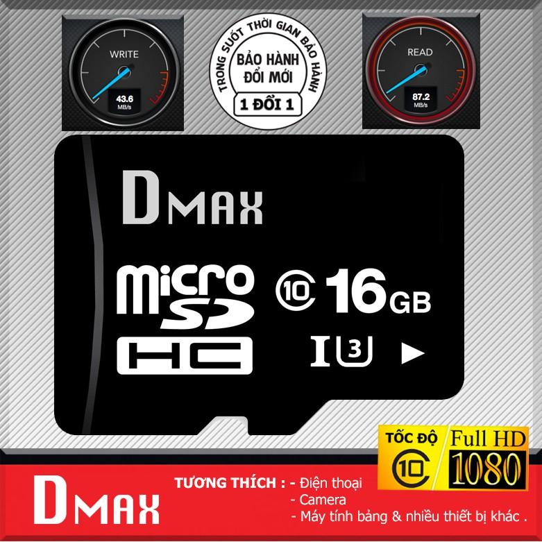 Thẻ nhớ 16GB U3 tốc độ cao , up to 90MB/s micro SDHC Dmax - Bảo hành 5 năm đổi mới