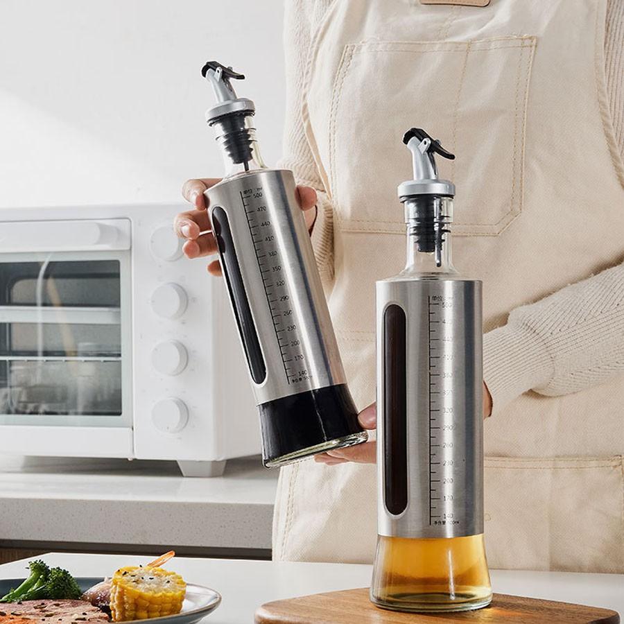Chai đựng dầu ăn, nước mắm 500ml cao cấp có dấu tích dành cho nhà bếp