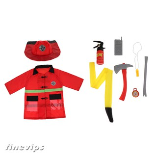 Children Fire Chief Role Play Costume Halloween Cosplay Set 9 Pieces