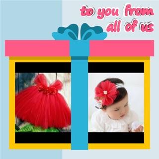 Freeship 99k TQ_Set váy và băng đô mẹ chọn cho bé đầy tháng