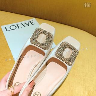 Bệt nữ HHS nhung lì đá O gót vuông 1 phân Hà Huyền Shoes - BB143