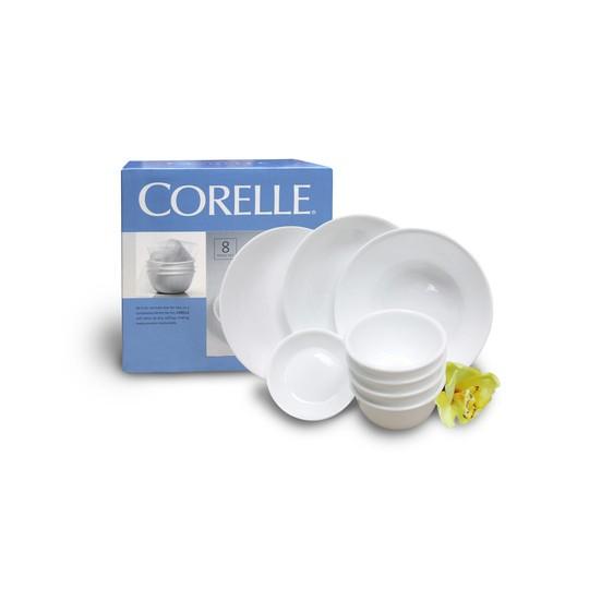 Bộ tô chén dĩa thuỷ tinh Mỹ Corelle 8 món 8 N-LP Winter Frost White