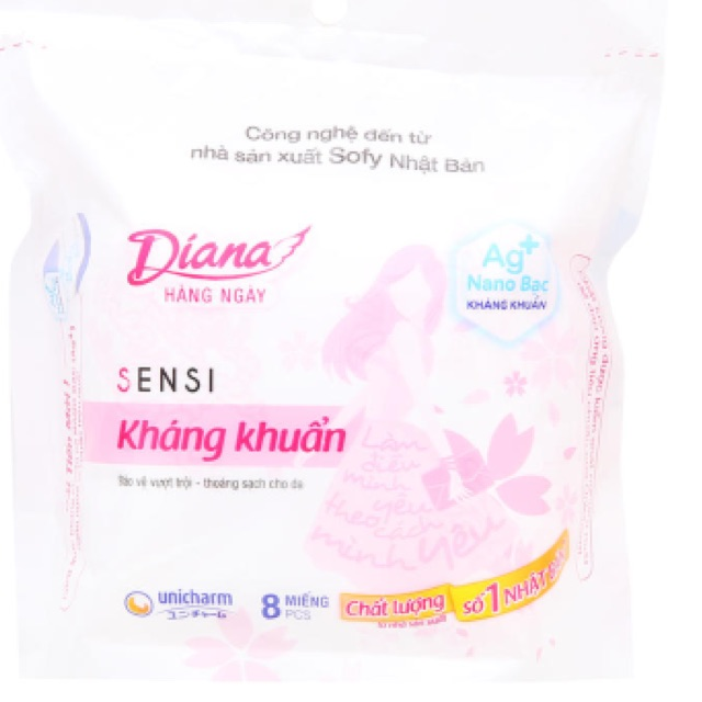 Băng vệ sinh hàng ngày Diana Daily lõi bông kháng khuẩn 8 miếng