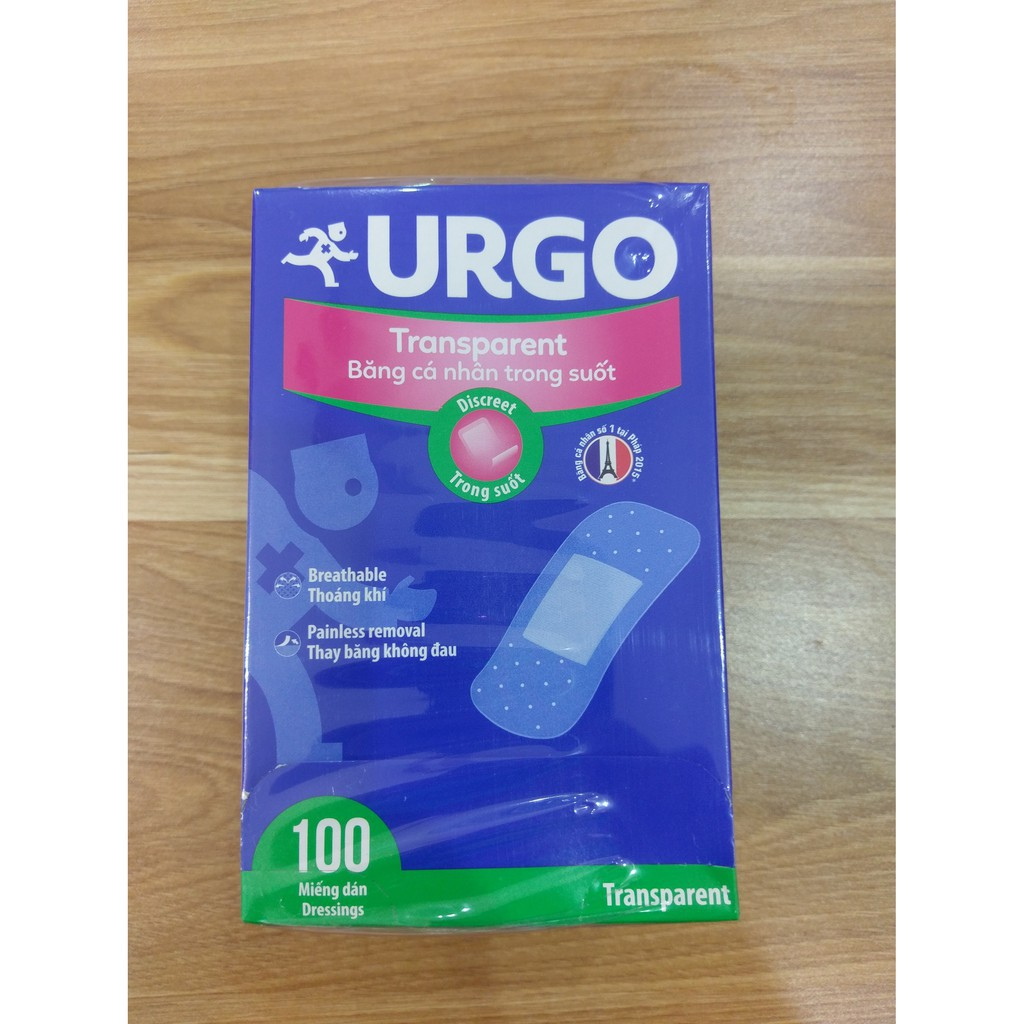Băng cá nhân trong suốt Urgo Transparent 100 cái