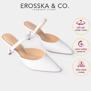 Dép su c cao gót thời trang Erosska quai ma nh phong ca ch Ha n Quô c cao 8cm màu tră ng _ EM073 thumbnail