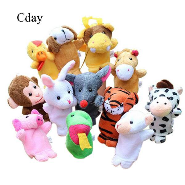 12x Chinese Zodiac Finger Puppets Plush Toys Doll Baby Kids Educational Toys C56