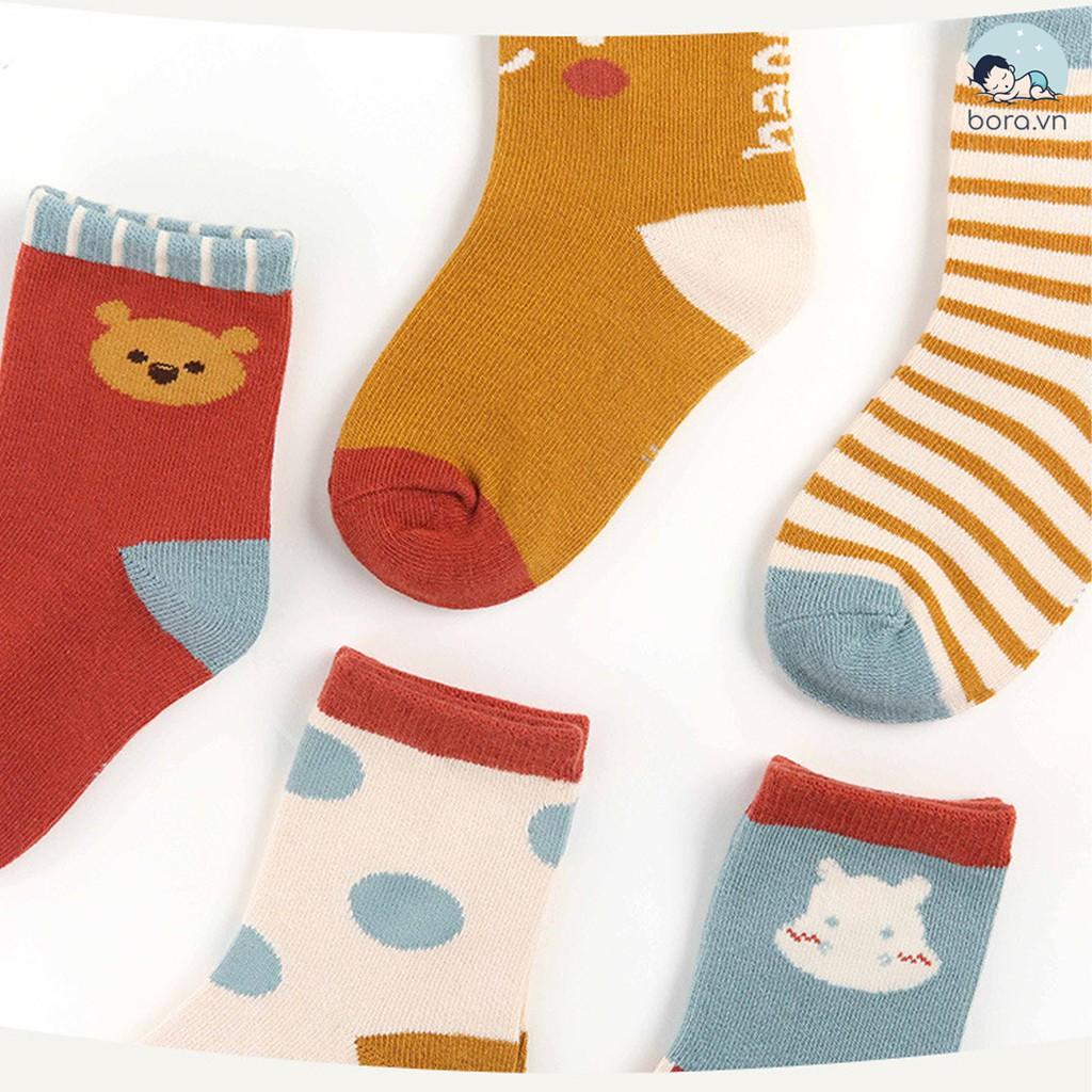 Tất cho bé, tất trẻ em hoạt hình siêu đáng yêu cho mùa thu đông, set 5 đôi