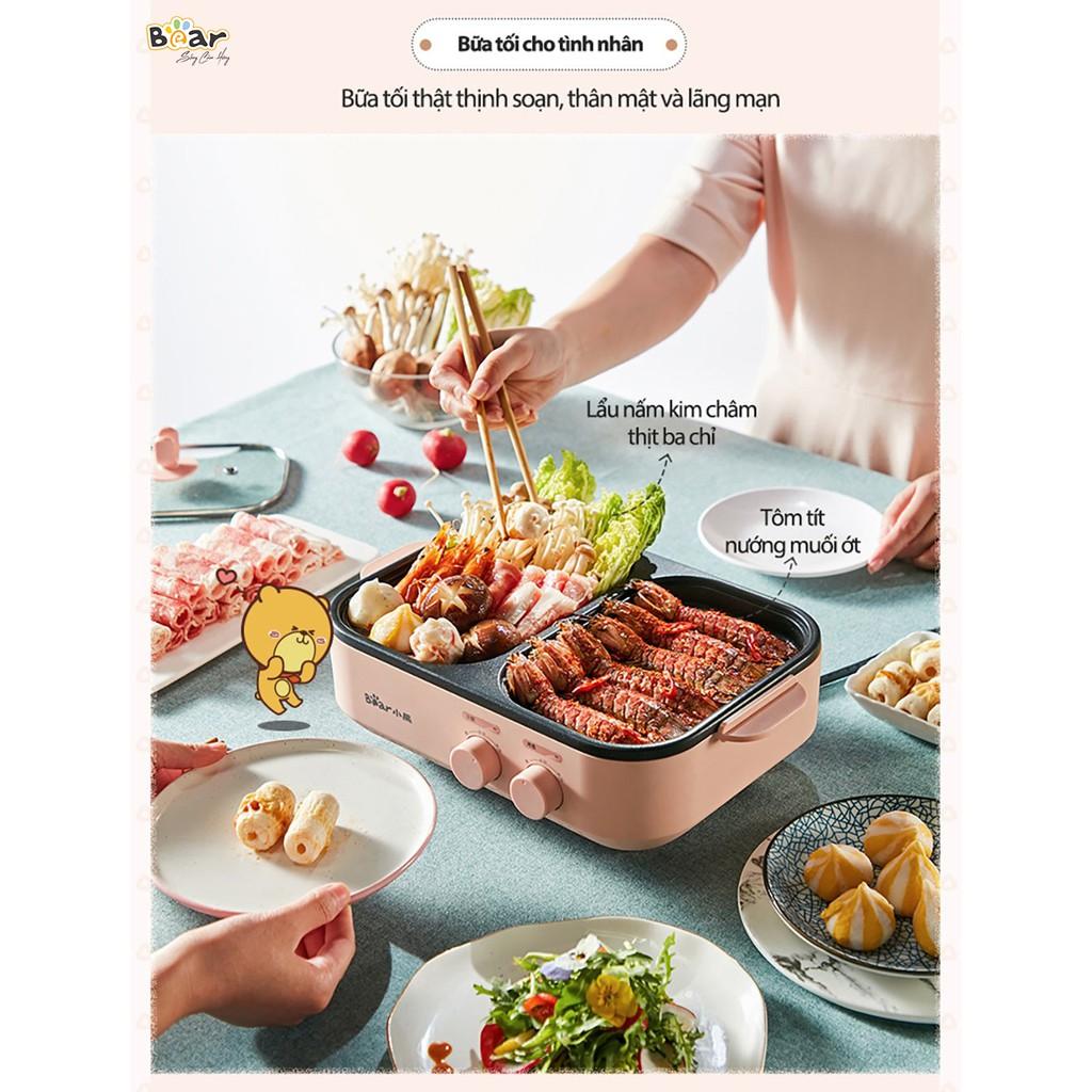 Nồi nướng lẩu mini Bear, bếp nướng lẩu đa năng, nồi lẩu và nướng mini DKL-C12D1_Bảo hành 12 tháng