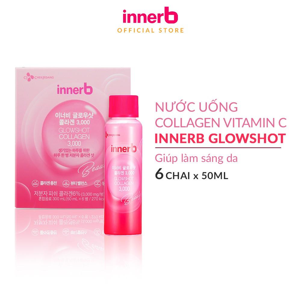 Hộp 6 chai nước uống Collagen Vitamin C sáng da InnerB Glowshot (50mlx6)