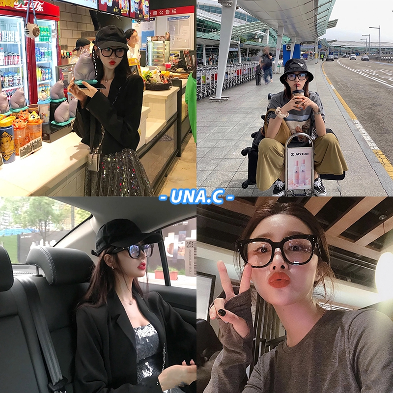 【READY STOCK】COD Korean Gentle Monster UNA.C Square Frame Eyeglasses Women Anti Blue Eyeglasses