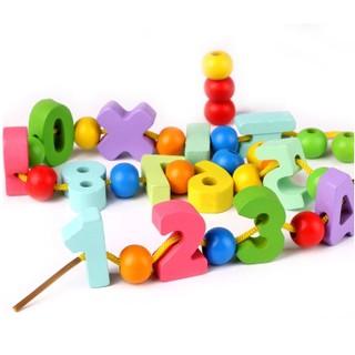 Bộ luồn hạt và chữ số bằng gỗ có hộp đựng