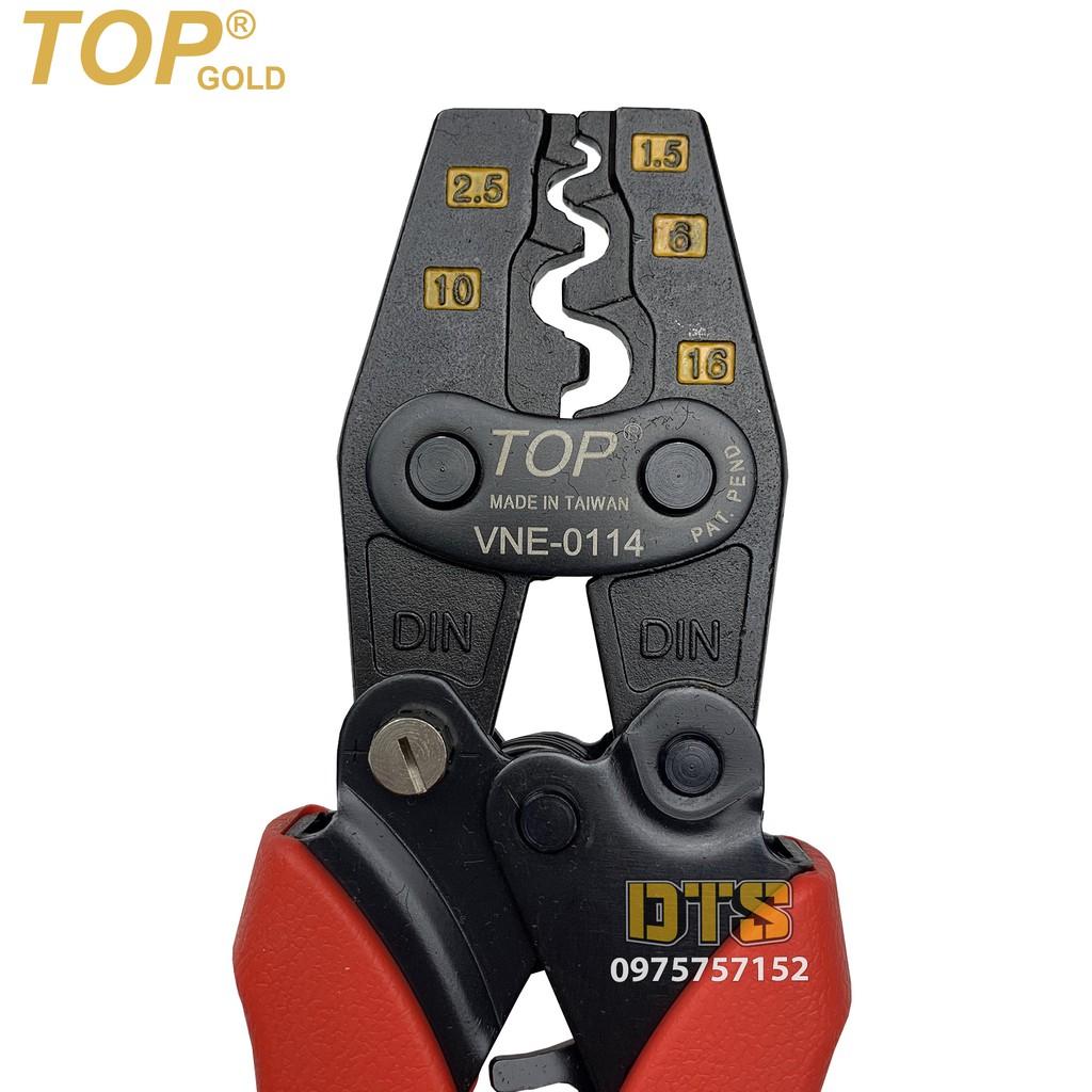 Kìm bấm cos trợ lực số 14 1.5 -> 16 mm2 TOP GOLD, tiết kiệm lực, độ chính xác cao, có nút điều độ rơ  (Kềm bấm cốt 16L)