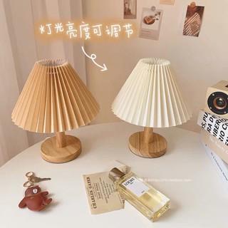 [ORDER] Đèn ngủ decor chân gỗ dáng xoè kiểu Hàn Quốc