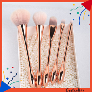 CODseller 5Pcs/Set Waist Brush Electroplating Multifunctional Plastic Soft Hair Small Waist Beauty Makeup Tools for Cosmetic