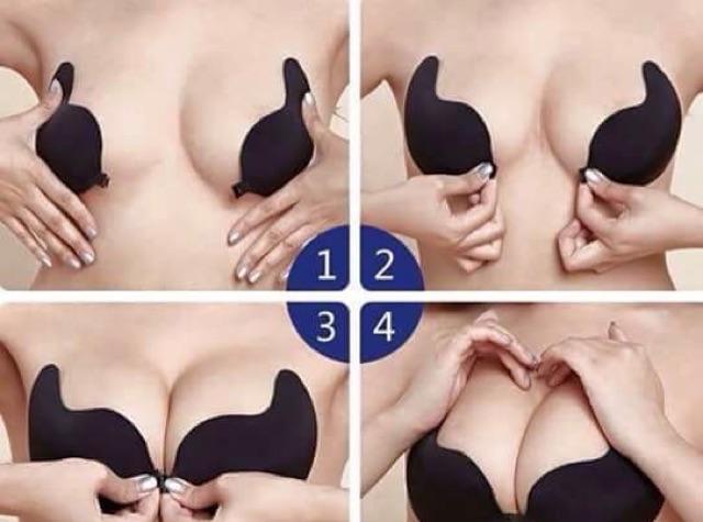 Áo bra dán silicon - Áo ngực tạo khe áo lót mặc váy cưới mặc áo đầm hở vai màu da màu đen