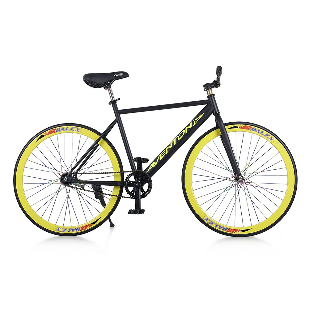 Xe đạp Fixed Gear Single Avents New 2018 (Đen phối vàng)