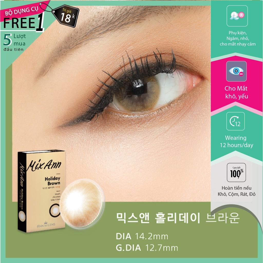 Lens mắt cận 1 tháng màu nâu cam cho mắt khô, yếu - Mix Ann Holiday Brown | Ann365 lens