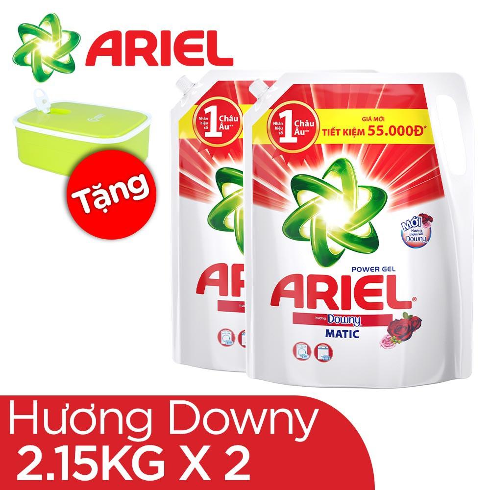 [HCM] Combo 2 Túi Nước Giặt Ariel Matic Hương Downy 2.15kg/túi tặng hộp cơm Comet cao cấp