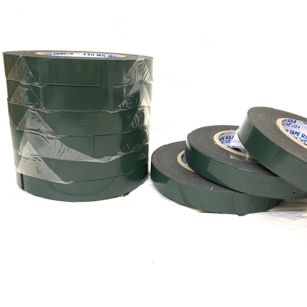 Combo 10 cuộn Băng keo xốp đen 2 Mặt 2.4 Cm siêu dính