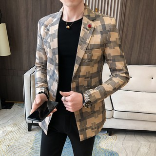 Tuxedos Men's Blazer Jacket Coats Slim fit Mens Suits Plaid Men's Suits Casual Leisure Yellow Black White New