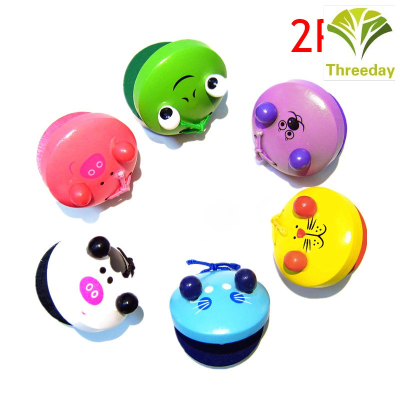 3D❤ 2 Pcs Cartoon Wooden Castanets Baby Children Musical Toys Musical Percussion Educational Instrument