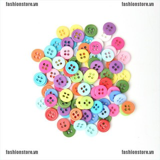 [Fashion] 100 Pcs Plastic Round Buttons Sewing DIY Craft Decals for Kids Crafts 5 Sizes [VN]