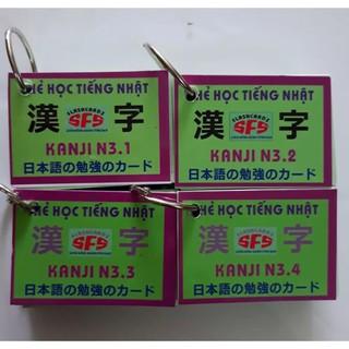 thẻ học tiếng nhật kanji n3 4 xấp