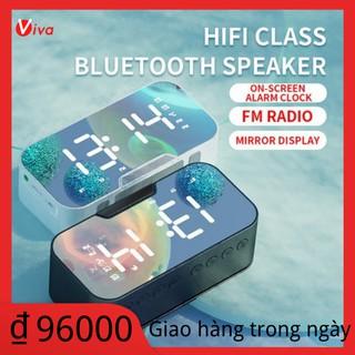 Viva G10 Gương loa bluetooth thẻ radio quà tặng sáng tạo đồng hồ báo thức âm thanh nhận lời nhắc bằng giọng nói