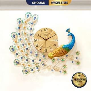 Đồng hồ treo tường con chim công đậu cành mai A22 kim trôi trang trí nghệ thuật