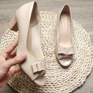 [Mã FAMAYWA giảm 10k đơn từ 50k] Ảnh thật - Giày cao gót hở mũi đính nơ đế vuông 5cm - Made in Vietnam