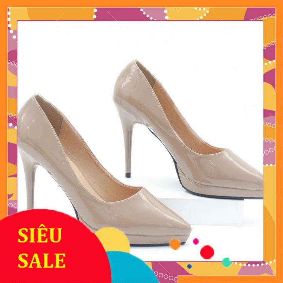 Giày Cao Gót 9cm Đế Đúp Da Bóng Mũi Nhọn Màu Nâu Sữa Pixie P672 (giá khai trương )