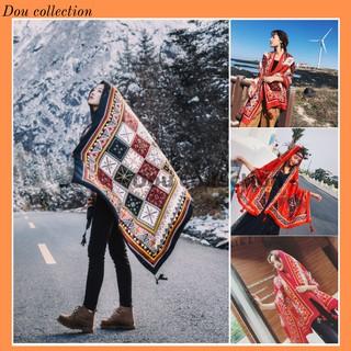 [NowShip2h] Khăn Choàng Quàng Cổ Boho Họa Tiết Thổ Cẩm Ô Vuông Màu Đỏ Đen - Chất Liệu Cotton - Size 90x180cm - Mã KC005 thumbnail