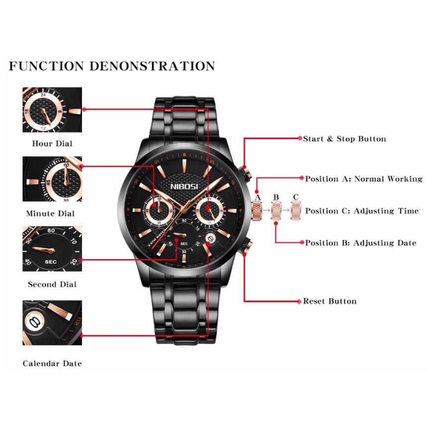 Đồng hồ nam dây thép đặc 6 kim Nibosi 2313 (fullbox)