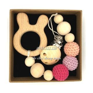 Chuỗi gỗ hình thú đáng yêu handmade cho bé tập cầm nắm 0-1 tuổi