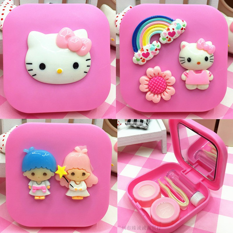 Hello Kitty contact lens case Eye mate box Cosmetic storage