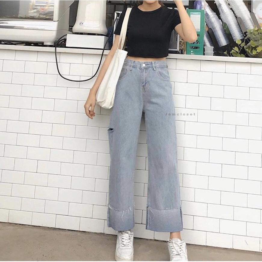 FS50K_Quần Jeans Nữ Ống Rộng Cao Cấp OHS3400