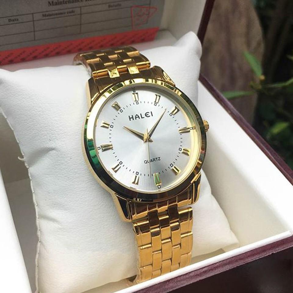 Đồng hồ nam Halei dây vàng chống nước - đồng hồ nam sang trọng (BIG SALE) Đồng hồ nam Halei dây vàng chống nước