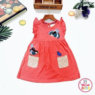 Đầm bé gái váy cho bé gái hồng thêu chim Little Maven túi sọc chính hãng 2-7 tuổi - ảnh thật Misolkids by huong274